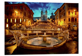 Foam board print  Spanish Steps and Fontana della Barcaccia in Rome