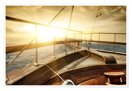 Premium poster  Ship on the sea in sunbeams