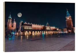 Wood print  World Famous Cracow Main Square