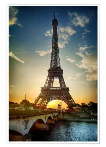 Premium poster Eiffel Tower and Pont d'Iena on Seine in Paris