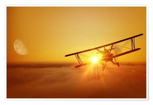 Premium poster Biplane flies towards the sun