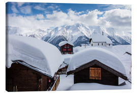 Canvas print  Snowy huts Bettmeralp Switzerland - Roberto Sysa Moiola