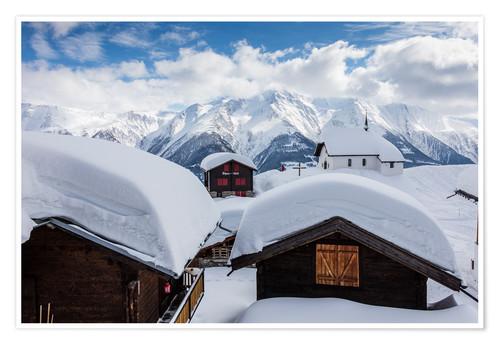 Premium poster Snowy huts Bettmeralp Switzerland