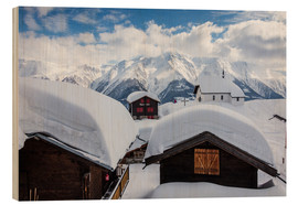 Wood print  Snowy huts Bettmeralp Switzerland - Roberto Sysa Moiola