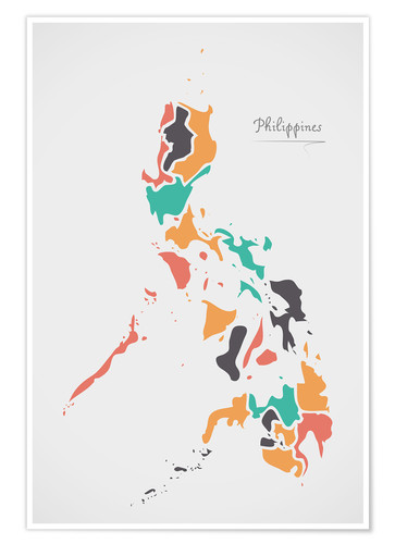 Premium poster Philippines map modern abstract with round shapes