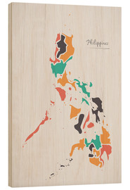 Wood print  Philippines map modern abstract with round shapes - Ingo Menhard
