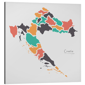 Aluminium print  Croatia map modern abstract with round shapes - Ingo Menhard