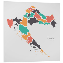Foam board print  Croatia map modern abstract with round shapes - Ingo Menhard