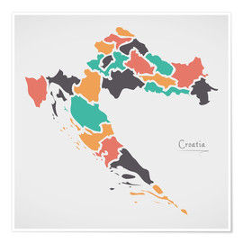 Premium poster  Croatia map modern abstract with round shapes - Ingo Menhard