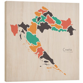 Wood print  Croatia map modern abstract with round shapes - Ingo Menhard