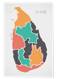 Premium poster  Sri Lanka map modern abstract with round shapes - Ingo Menhard