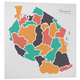 Foam board print  Tanzania map modern abstract with round shapes - Ingo Menhard
