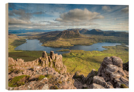 Wood print  View from Stac Pollaidh in Scotland - Michael Valjak