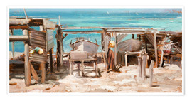 Premium poster  Fishing boats, Ibiza - Johnny Morant