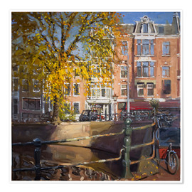 Premium poster Canal with bicycles