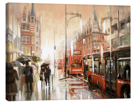 Canvas  Oxford Street in the rain - Johnny Morant