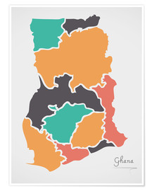 Premium poster  Ghana map modern abstract with round shapes - Ingo Menhard