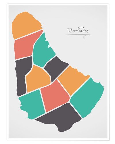 Premium poster Barbados map modern abstract with round shapes