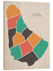 Wood  Barbados map modern abstract with round shapes - Ingo Menhard