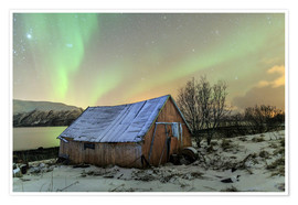 Premium poster  Aurora Borealis on typical Rorbu, Svensby, Norway - Roberto Sysa Moiola