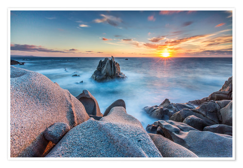Sunset on cliffs of Capo Testa, Sardinia, Italy Poster ...