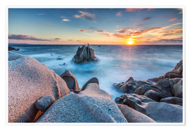 Premium poster  Sunset on cliffs of Capo Testa, Sardinia, Italy - Roberto Sysa Moiola