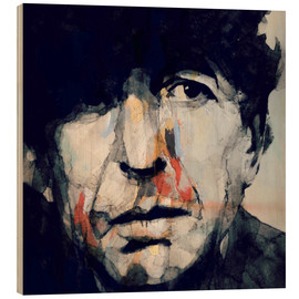 Wood print  Leonard Cohen - Paul Lovering Arts