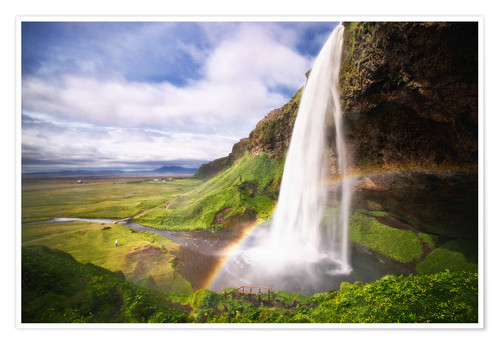 Premium poster Waterfall with rainbow