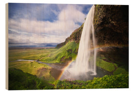 Wood print  Waterfall with rainbow - Dennis Fischer