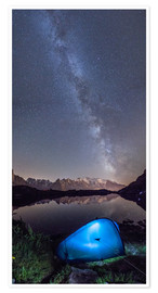 Premium poster Panoramic of Milky Way on Mont Blanc, France