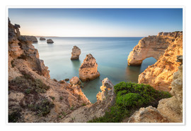 Premium poster Cliffs at sunrise, Praia Da Marinha, Algarve, Portugal