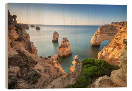 Wood print  Cliffs at sunrise, Praia Da Marinha, Algarve, Portugal - Roberto Sysa Moiola
