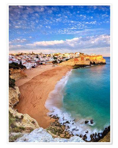 Premium poster Panoramic of Carvoeiro at sunset, Algarve, Portugal