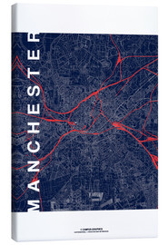 Canvas print  Manchester Map Midnight Map - campus graphics