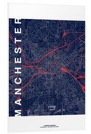 Foam board print  Manchester Map Midnight Map - campus graphics