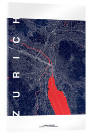 Acrylic print  Zurich Map Midnight City - campus graphics