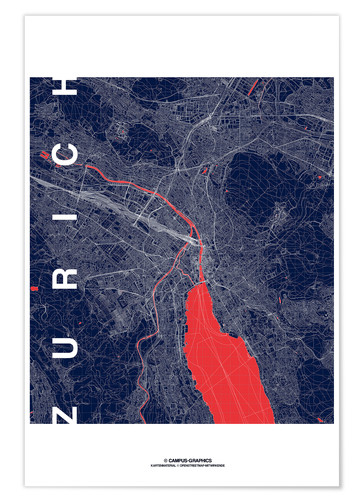 Premium poster Zurich Map Midnight City
