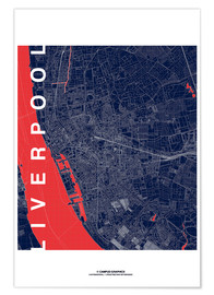 Premium poster Liverpool Map Midnight City
