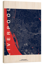 Wood print  Liverpool Map Midnight City - campus graphics