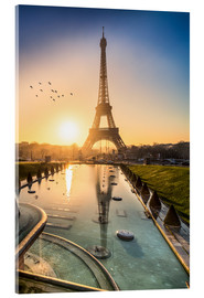 Acrylic glass  Romantic sunrise at the Eiffel Tower in Paris, France - Jan Christopher Becke