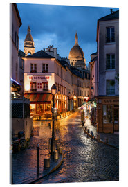 Acrylic glass  Street in Montmartre with Basilica of Sacre Coeur, Paris, France - Jan Christopher Becke
