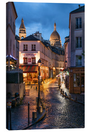 Canvas print  Street in Montmartre with Basilica of Sacre Coeur, Paris, France - Jan Christopher Becke