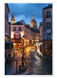 Premium poster Street in Montmartre with Basilica of Sacre Coeur, Paris, France