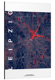 Aluminium print  Leipzig Map Midnight city - campus graphics
