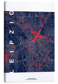 Canvas print  Leipzig Map Midnight city - campus graphics