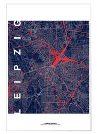 Poster Leipzig Map Midnight city