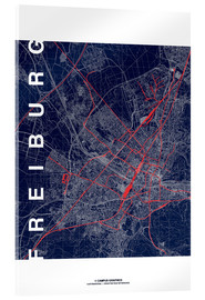 Acrylic print  Freiburg Map Midnight City - campus graphics