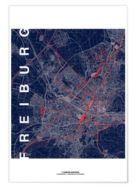 Premium poster  Freiburg Map Midnight City - campus graphics
