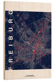 Wood  Freiburg Map Midnight City - campus graphics