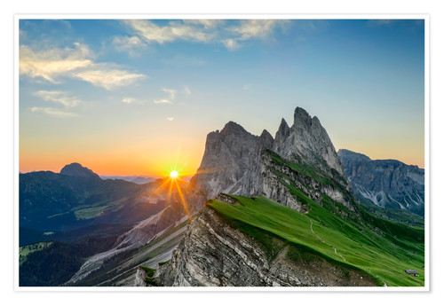 Premium poster Sunrise on Seceda with Geisler group